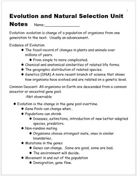 Evolution and Natural Selection Unit Notes, Standards, and