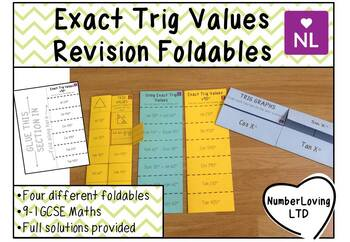 Exact Trig Values (Foldable)