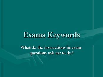 Exam Keywords (Vocabulary / Terminology)