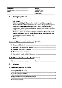 Exam for intermediate students