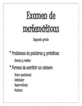 Examen de matemáticas de Segundo grado- Answer Key Included!