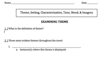 Examining Literary Elements: Theme/Setting/Mood/Tone/Chara