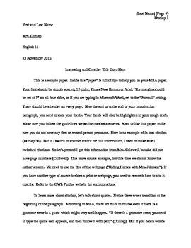 Example MLA Paper