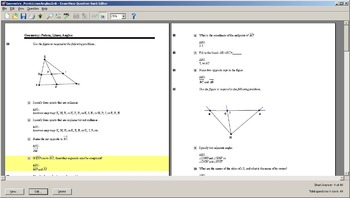 Examview Question Bank for Geometry: Points, Lines, Angles