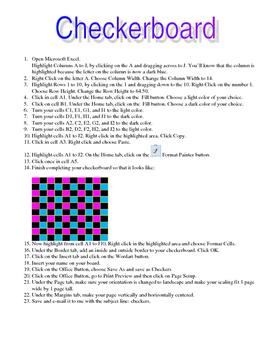 Excel Activity - Create a Checkerboard