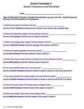 Excel Formulas C Technology Lesson Plan & Materials