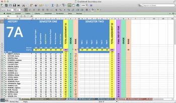 Excel Grade book Spreadsheet for Secondary with Graphs
