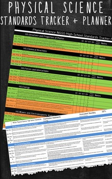Excel Spreadsheet Physical Science NGSS Standards Tracker