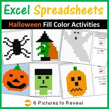 Excel Spreadsheets Halloween Mystery Pictures Fill Color -
