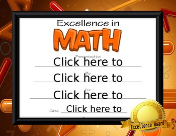 Excellence in Math Award