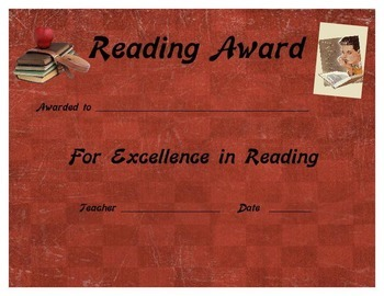 Excellence in Reading Certificate