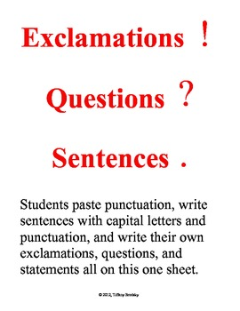 Exclamations, Questions, & Statements -Capital Letters & P