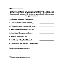 Exclamatory and Interrogative Sentences Assessmsnet PRINTABLE!