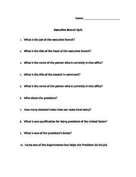 Executive Branch Quiz