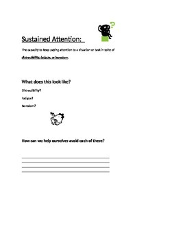 Executive Functioning Lesson:  Sustained Attention
