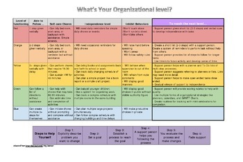 Executive Functioning Organizational Level Chart