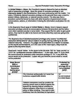 Executive Privilege or Not worksheet