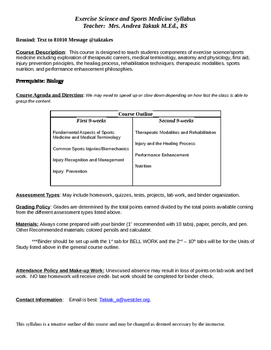 Exercise Science and Sports Medicine Syllabus