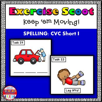 CVC Spelling Short I: Phonics Task Cards - Exercise Scoot!