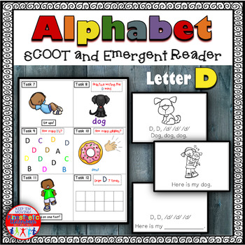 Alphabet Task Cards - Exercise Scoot! Letter D {Emergent R
