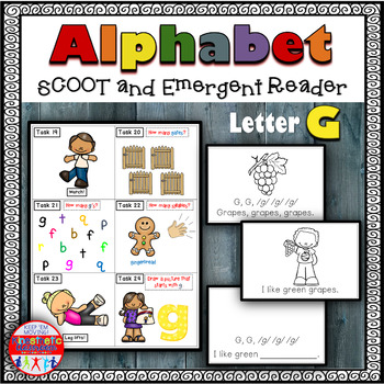Alphabet Task Cards - Exercise Scoot! Letter G {Emergent R