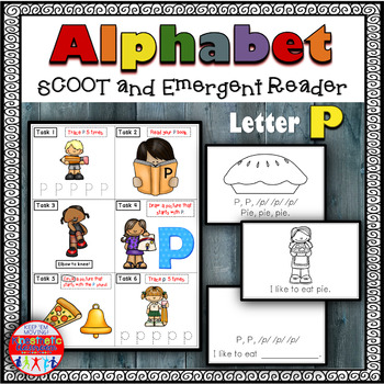 Alphabet Task Cards - Exercise Scoot! Letter P {Emergent R