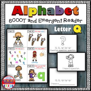 Alphabet Task Cards - Exercise Scoot! Letter Q {Emergent R
