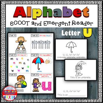 Alphabet Task Cards - Exercise Scoot! Letter U {Emergent R