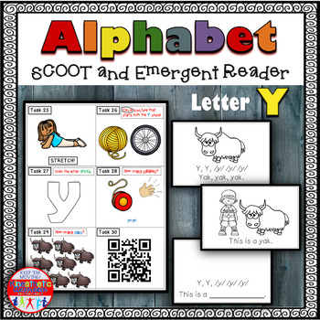Alphabet Task Cards - Exercise Scoot! Letter Y {Emergent R