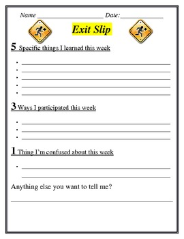 Exit Slip- Weekly Assessment