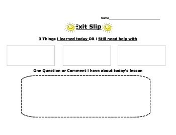 Exit Slip for any subject