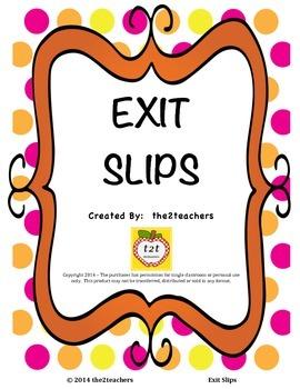 Formative Assessment:  Exit Slip/Exit Ticket