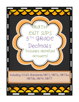 Exit Slips: Decimals {Basic Operations and Place Value} Fi