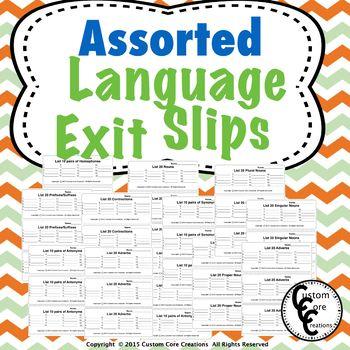 Exit Slips Language Assorted