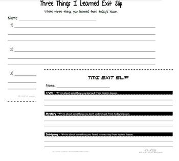 Exit Slips for Formative Assessment and Differentiated Ins