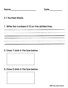 Exit Slips for Kindergarten-Everyday Math Unit 3