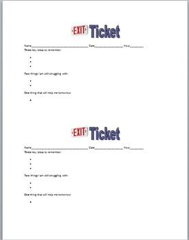 Exit Ticket 3-2-1