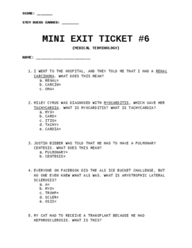 Exit Ticket #6: Medical Terminology
