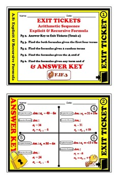 Exit Ticket - Arithmetic Sequence - Explicit & Recursive Formula