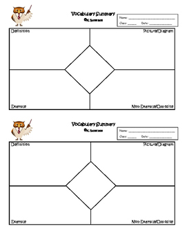 Exit Ticket Frayer Model Vocabulary Summary or Interactive