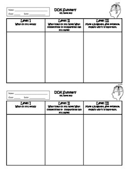 """Exit Ticket Summary or Interactive Notebook Output """"DOK"""" Chart"""