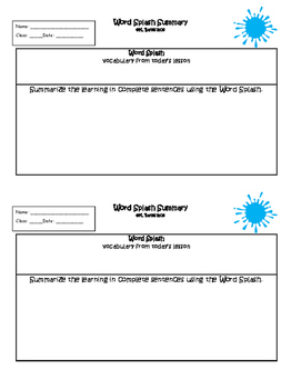 Exit Ticket Word Splash Summary or Interactive Notebook Output