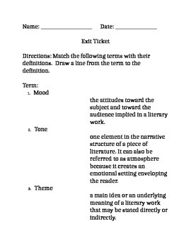 Exit Ticket for Mood, Tone and Theme