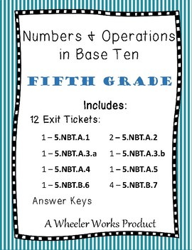 Exit Tickets for Fifth Grade, Numbers and Operations in Ba