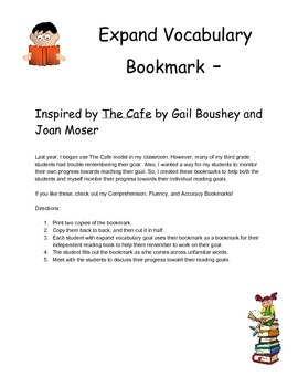 Expand Vocabulary Bookmark - CAFE/CRAFT Inspired