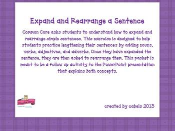 Expand and Rearrange A Sentence PowerPoint and Activity
