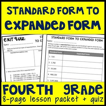 Expanded Form: 2 Day Lesson, Guided Notes and Exit Quizzes