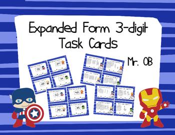 Avengers Expanded Form 3 Digit Task Cards
