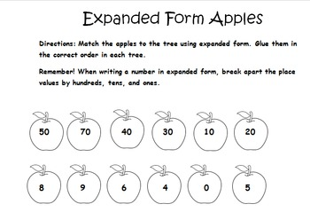 Expanded Form Apple Matching