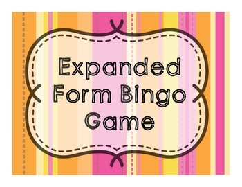 Expanded Form Bingo Game